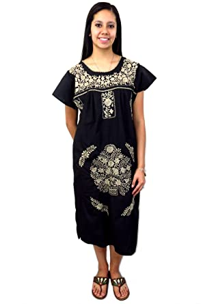 7f25f91ece7 Ethnic Identity Mexican Dress Puebla Solid Tan Embroidery at Amazon Women's  Clothing store: