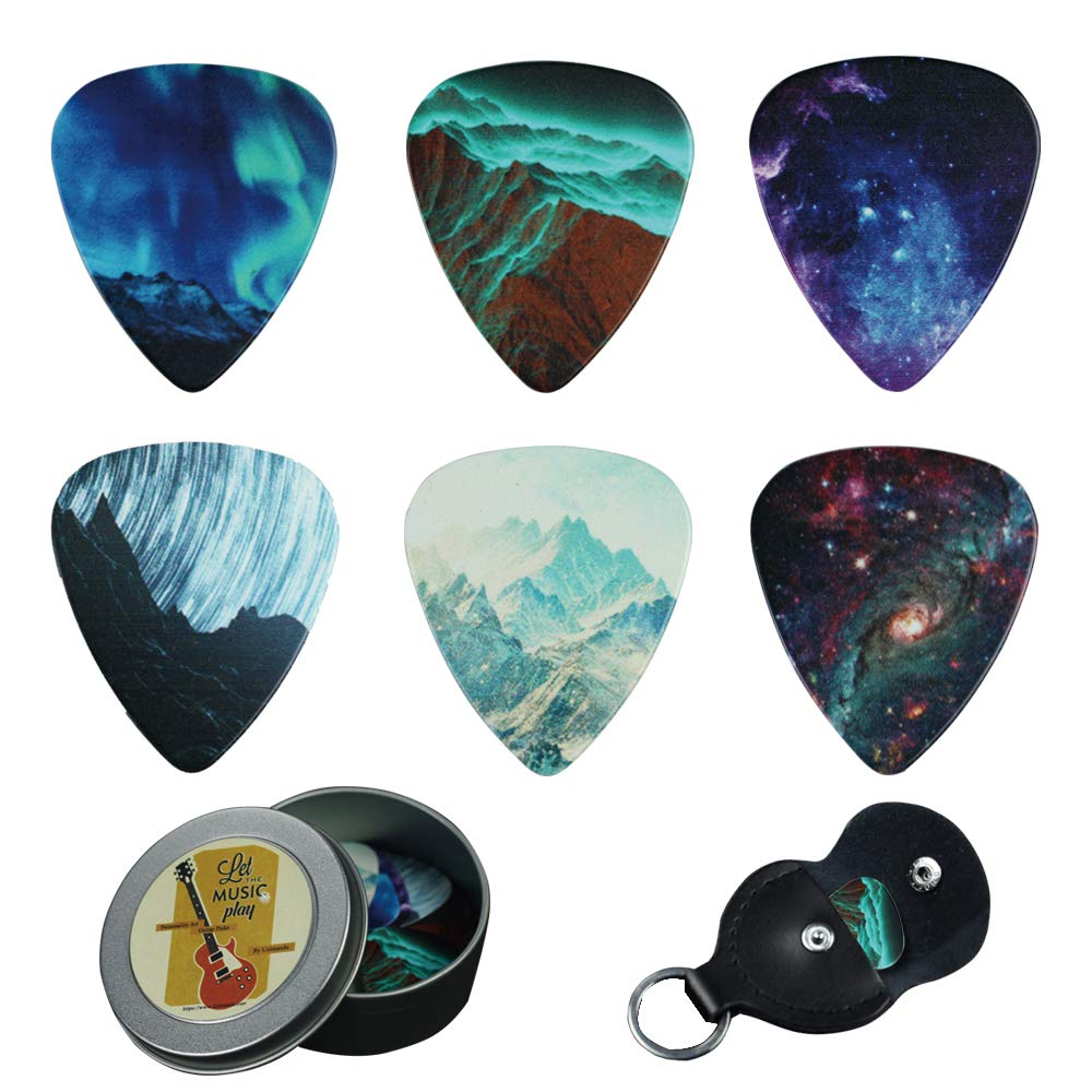Guitar Picks - Cheliz 12 Medium Gauge Celluloid Guitar Picks In a Box W/Picks Holder. Unique Guitar Gift For Bass, Electric & Acoustic Guitars (Natural Image) by Cheliz