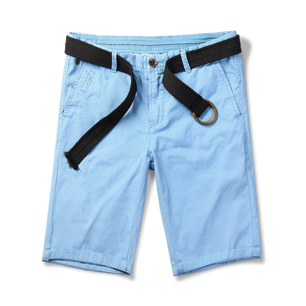 OCHENTA Men's Slim Straight Fit Comfort Stretch Chino Shorts Solid Light Blue US 32 - Tag 33