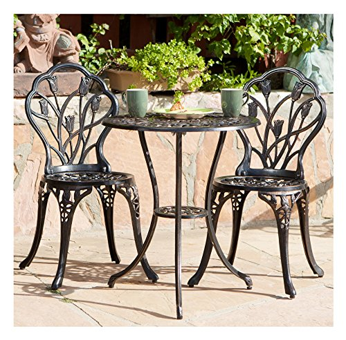 Classic Tulip Cast Aluminum Outdoor Patio 3 Piece Bistro Set in Copper Tone Finish - 2 Chairs and 1 Table ()