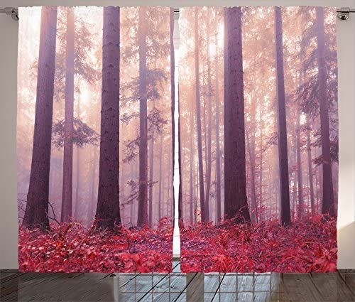 Ambesonne Woodland Decor Curtains, Colorful Forest with Foggy Sunlight Mystic Light Big Trees Magic Wilderness Fantasy, Living Room Bedroom Decor, 2 Panel Set, 108 W X 90 L Inches