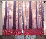 Ambesonne Woodland Decor Curtains, Colorful Forest With Foggy Sunlight Mystic Light Big Trees Magic Wilderness Fantasy, Living Room Bedroom Decor, 2 Panel Set, 108 W X 90 L Inches For Sale