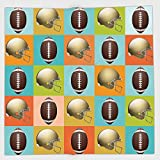 Cotton Microfiber Hand Towel,Football,Colorful Squares Mosaic Pattern with Protective Helmets and Balls College Activity Decorative,Multicolor,for Kids, Teens, and Adults,One Side Printing