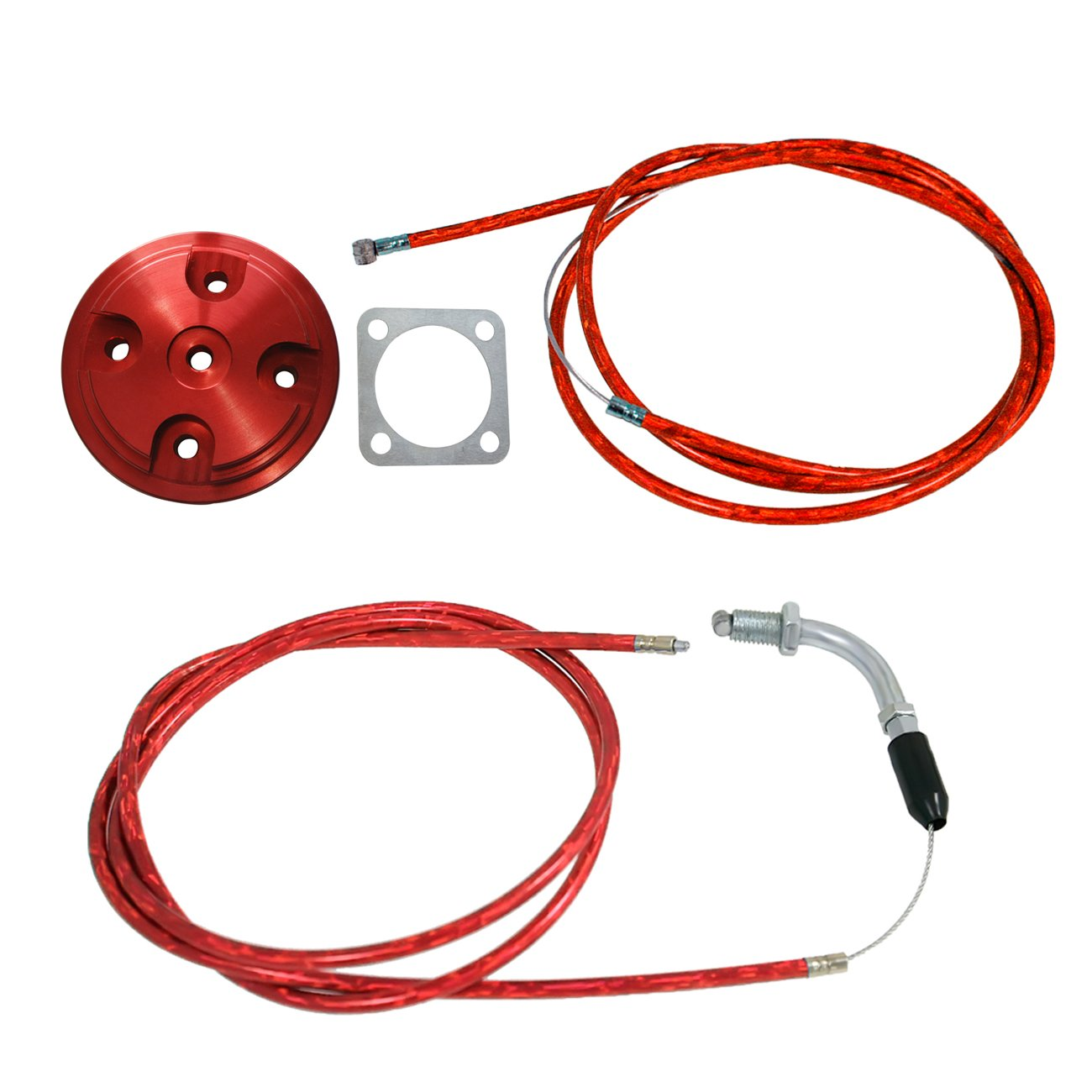 JRL Red CNC Cylinder Head Cover & Throttle Line Fit 80cc Engine Motorized Bicycle Huang Machinery