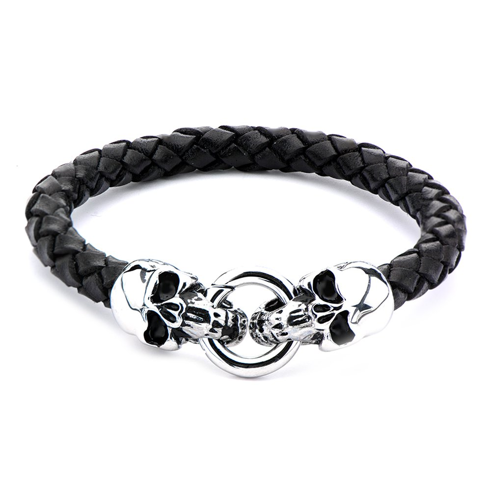 Black Braided Leather Stainless Steel Skull Ends Men's Pirate Bracelet - DeluxeAdultCostumes.com