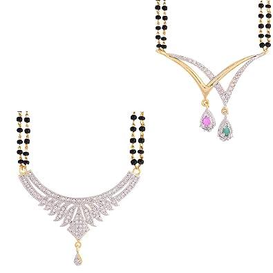 Buy zeneme american diamond mangalsutra combo set pendant with chain zeneme american diamond mangalsutra combo set pendant with chain for women aloadofball Images