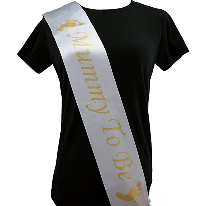 Rzctukltd 1PCS White MUMMY TO BE New Baby Shower Party SASH 3 Colours Satin Sash Ribbon FOOTPRINT