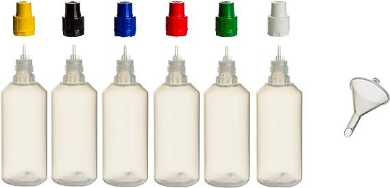 6 botellas de polipropileno de 100 ml con tapas de colores y embudo de relleno, botella vacía de plástico, botella de pulverización, para rellenar y ...