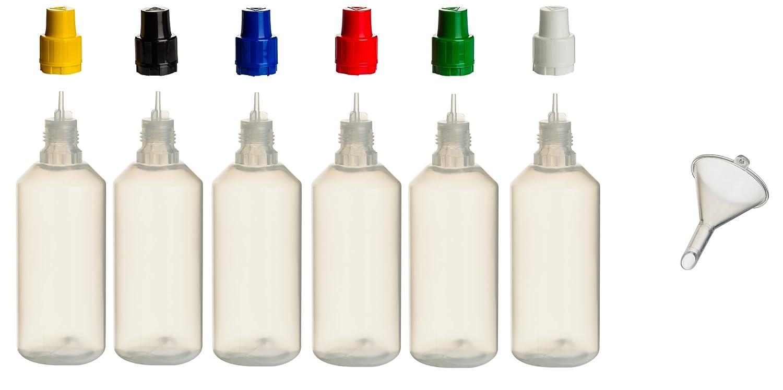 6 pieza de botellas de 100 ml PP con tapas de colores + relleno de embudo - - Botella vacía Botella Plástico lengüeta Frasco quetschbar para rellenar y ...