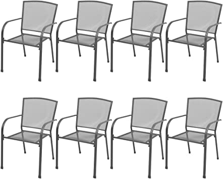 Festnight Set Mobili Tavolo Rettangolare e 8 Sedie//Poltrone con Schienale e Braccioli in Rete Acciaio Antracite da Pranzo da Sala da Pranzo//Giardino//Patio//Piscina per Esterno