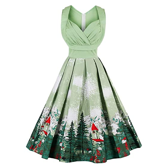 New Christmas Ruched Forest Print Pin Up Midi Dress Women Hepburn Style Autumn Vintage Party Dresses