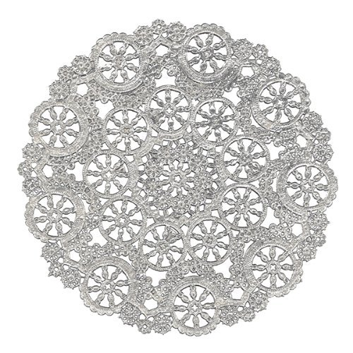Royal Lace Round Foil Doilies, 4-Inch, Silver, Pack of 24 (B26502) Office Supply Product