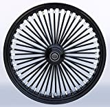 Ultima King Spoke Black on Black Aluminum Front Wheel, 21'' X 3.5'', Single Disc, Black Billet Hub, 37-723