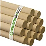 "Wooden Dowel Rods - 1-1/4"" x 36"" Unfinished Hardwood Sticks - For Crafts and DIY'ers - Craftparts Direct - Bag of 2"