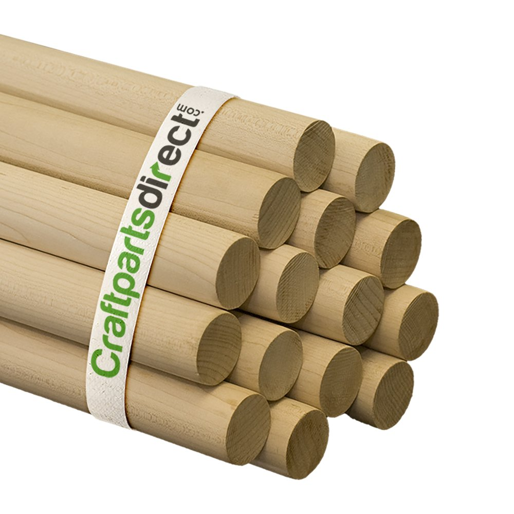 Wooden Dowel Rods Craftparts Direct Bag of 10 1//4 x 36 Unfinished Hardwood Sticks For Crafts and DIYers