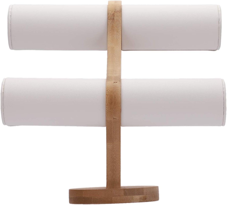 TOOGOO ExhibicióN de la JoyeríA de Bambú Pulsera Pantalla de Almacenamiento Brazalete Soporte de ExhibicióN Terciopelo Vintage/Cuero de PU Reloj Organizador de JoyeríA Piel Blanca