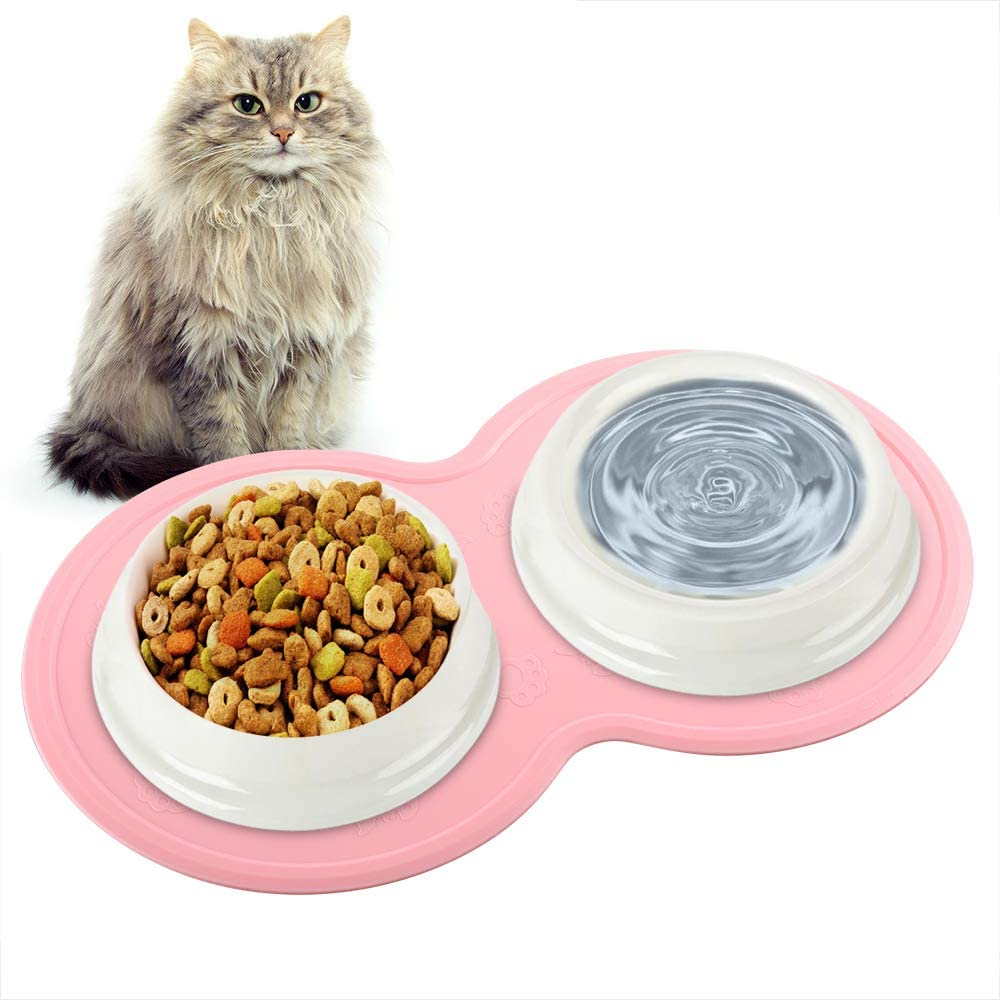 Tinland Feeding Mat for Kitten, Compact Food Mat for Kitty Cat Small Dog Anti-Slip Waterproof Food Grade Silicone Raised Rim