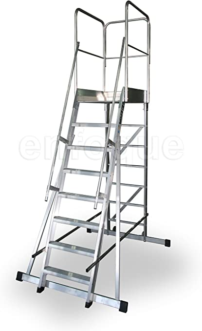 Escalera profesional de aluminio un acceso con plataforma de trabajo 8 peldaños 60x90 serie store 68º almacén: Amazon.es: Hogar