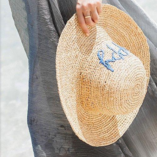 ファッションレディース太陽の麦わら帽子 ラフィア女性サマーシェードシーサイドサンスクリーンバケーションワイドブリムサンストローハットビーチ折り畳み式レジャーバイザー CHENGYI