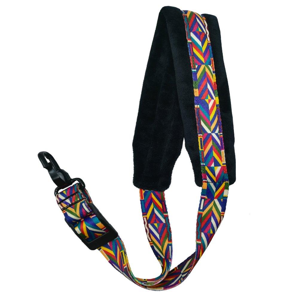 Xinlinke Saxophone Neck Strap Soft Padded Rainbow Braided Pattern for Alto Tenor Baritone Soprano Sax