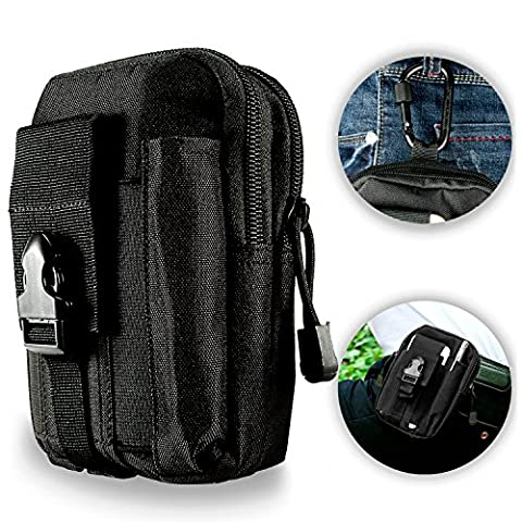 ivencase Tactical MOLLE EDC Pouch Compact Outdoor Multi-Purpose Utility Gadget Tool Belt Waist Bag Pack with Extra Aluminum Carabiner - Borsa Piccola Corda Borsa