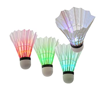 Badminton Bälle 4Pcs Bunte LED Badminton Feather Federball Shuttlecocks Federbälle für Nacht