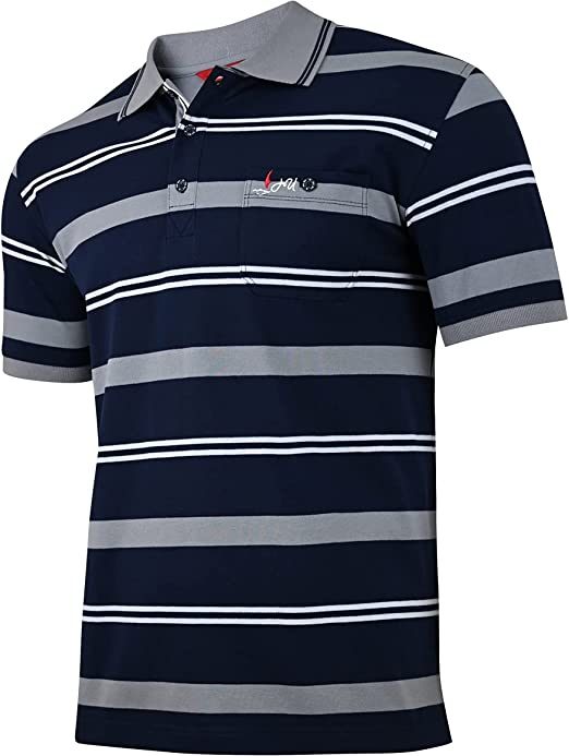 Humy Men's Polo Shirts Short Sleeve with Collar Polo Shirt, Blouson Shirts with Zip and Chest Pockets (M to 3XL)