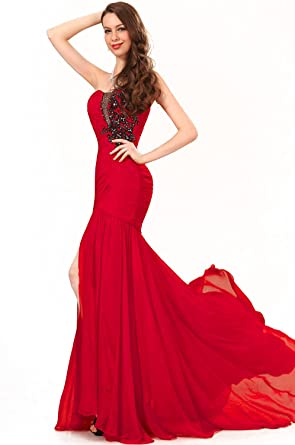 01e2366c2f026 eDressit New Strapless Pleated Top High Split Red Evening Dress Prom Ball  Gown(00134602)