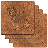 Miniature Schnauzer Pet Dog Low Profile Cork Coaster Set