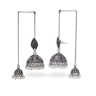 01546c90d Image Unavailable. Image not available for. Colour: Oxidized Silver Finish Kashmiri  Jhumka Jhumki Earrings ...