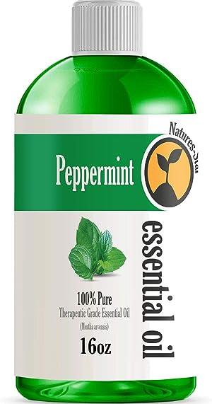 16oz - Bulk Size Peppermint Essential Oil (16 Ounce Bottle) - Therapeutic Grade Essential Oil - 16 Fl Oz