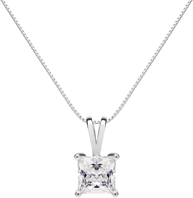 """Details about  /14K Solid White Gold Pendant Necklace 1 Carat 16/"""" Princess Cut CZ Solitaire"""