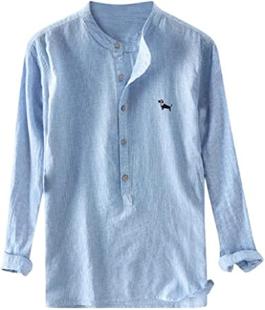 Camisa de Lino con Cuello mandarín de Manga Larga Slim Fit ...