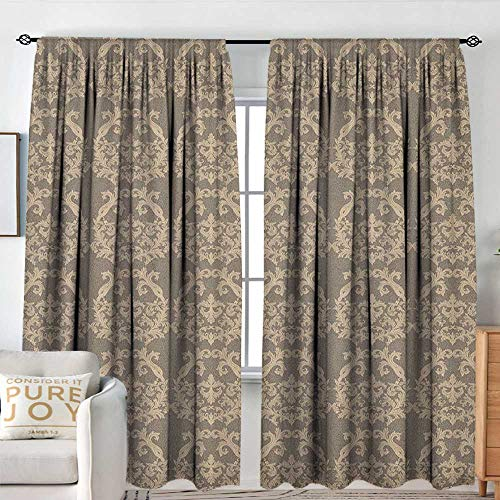 Sillgt Taupe Thermal/Room Darkening Window Curtains Royal Victorian Botanical Design Exquisite Floral Figures Historic Pattern Insulated with Curtains for Bedroom W 84