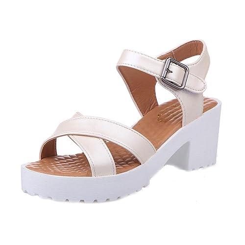 Summer Sandals Inkach Woman Open Toe Fish Mouth High Heel Outdoor Platform Sandals