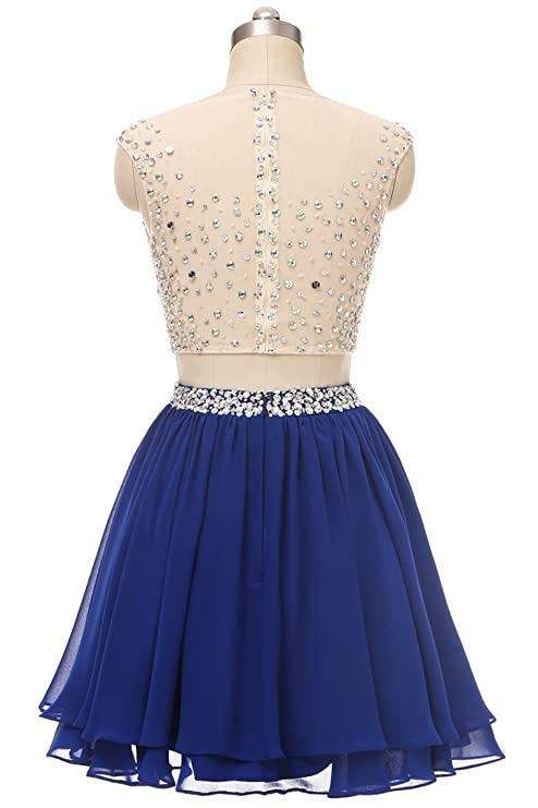 QSYE Womens 2 Piece Sparkly Beaded Prom Homecoming Dresses Short Sheer Cocktail Party Dresses at Amazon Womens Clothing store: