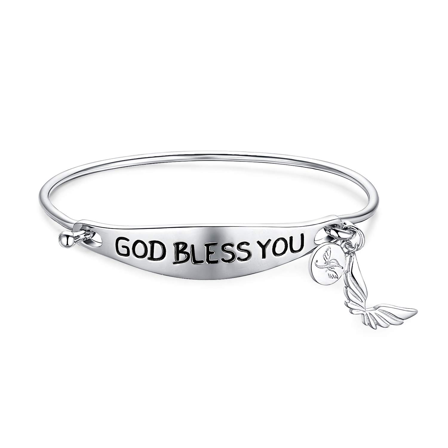 b02995d4b74b Amazon.com  JewelryPalace Personalized Hand Stamped God Bless You Dangle  Butterfly 925 Sterling Silver Bangle Bracelet  Jewelry