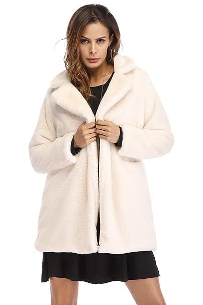 1b12f99b03a7 Giacca Pelliccia Ecologica Donna Moda Caldo Morbido Cappotto Reversibile  Giubbotto Autunno Inverno Blazer Aperto Cardigan Manica