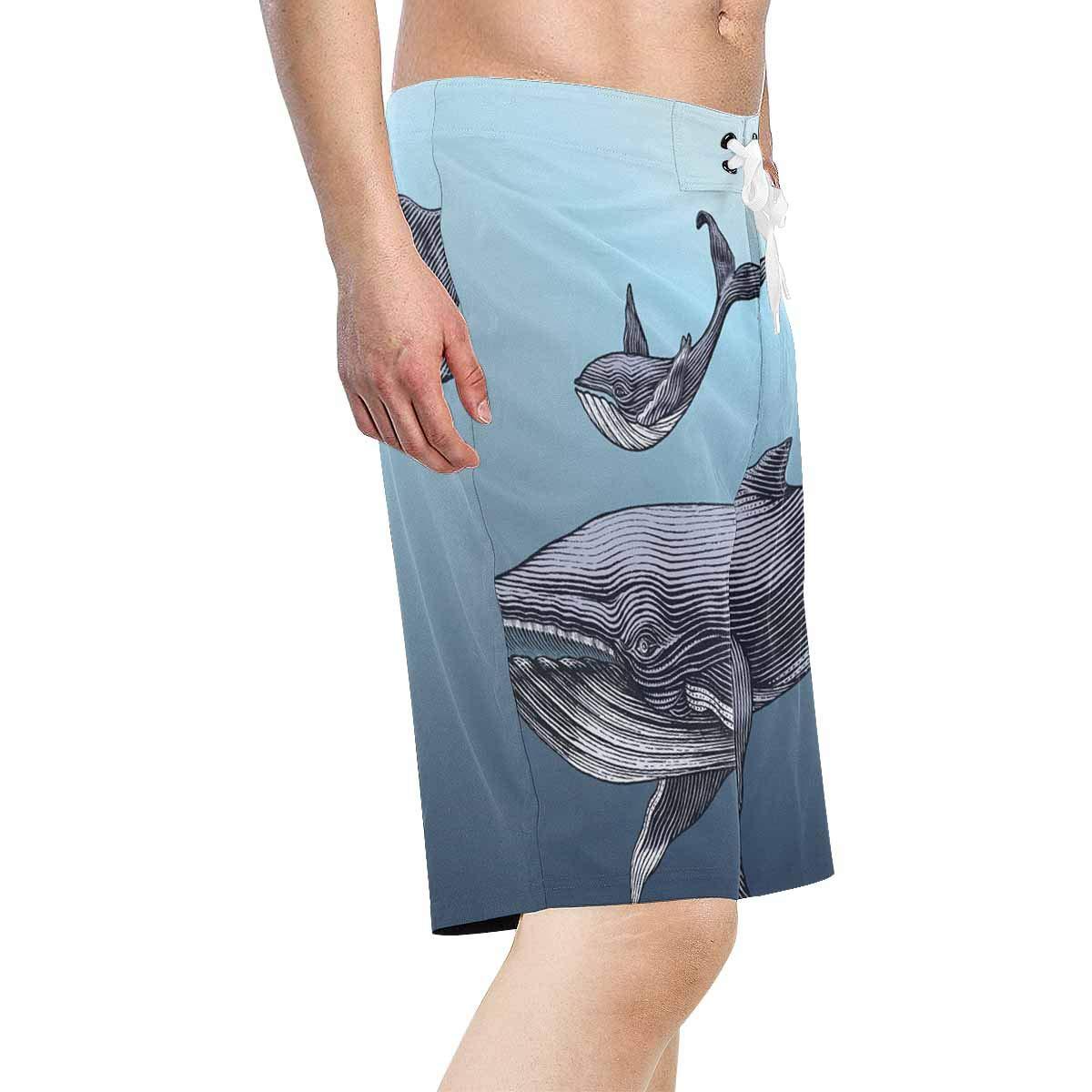 XS-6XL INTERESTPRINT Mens Swim Trunks Quick Dry Cute Whales Swimwear Board Shorts