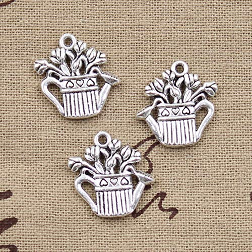 Charms - 10pcs Charms Flower Pot Kettle 2019mm Antique Silver Plated Pendants Making DIY Handmade Tibetan Silver Jewelry - by ptk12-1 PCs