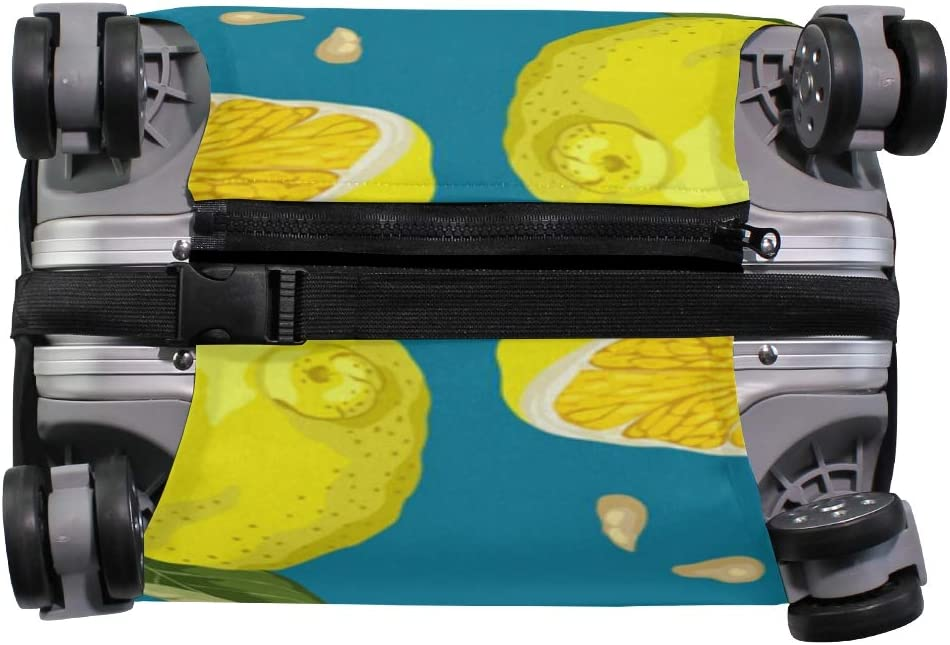 Travel Luggage Cover Fresh Lemon Fruit Yellow Green Leaves Blue Suitcase Protector