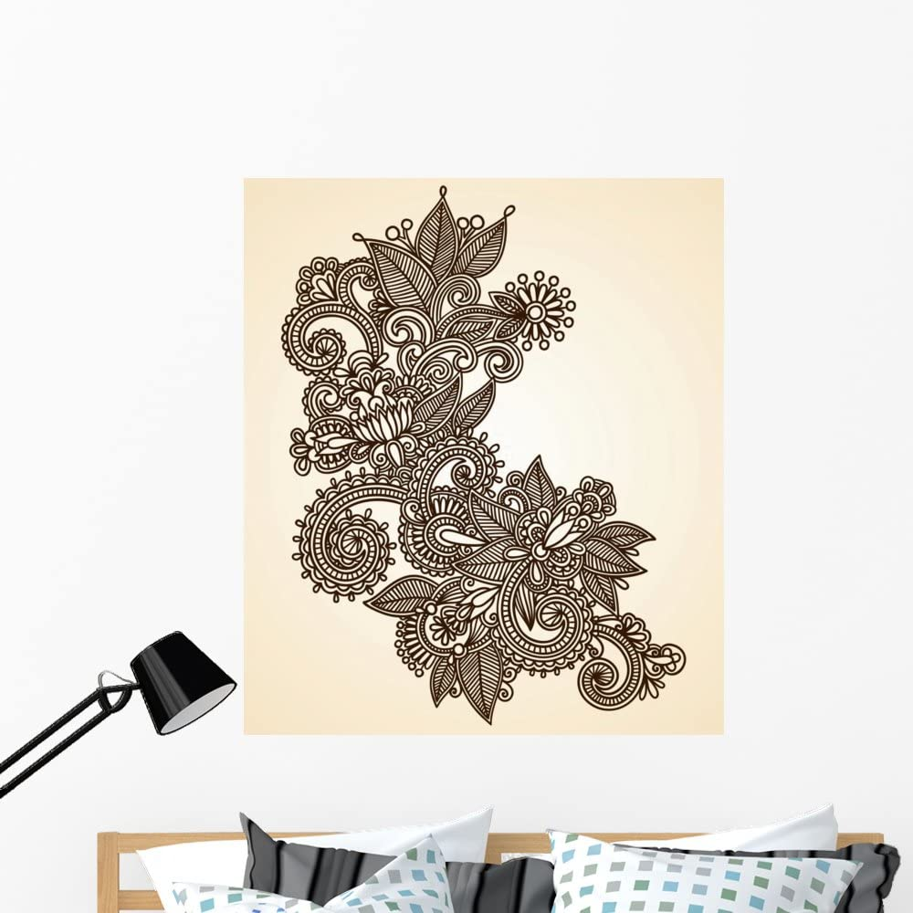 Wallmonkeys Fot 32484473 48 Wm223645 Hand Drawn Abstract Henna Mendie Design Element Peel And Stick Wall Decals 48 In H X 41 In W Extra Large Home Kitchen