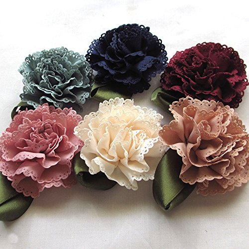 18pcs Fabric Ribbon Flowers Bows Appliques Craft Wedding Dec Bulk A0444 (Multi-color)