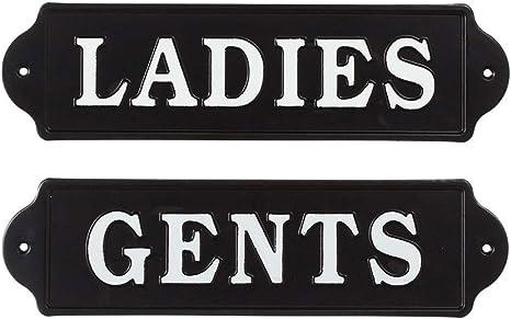 Midwest-CBK Set of 2 Metal Wall Signs Ladies /& Gents 16 Black /& White