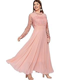 121557e177 Milumia Women's Vintage Floral Lace Long Sleeve Ruched Neck Flowy Long Dress