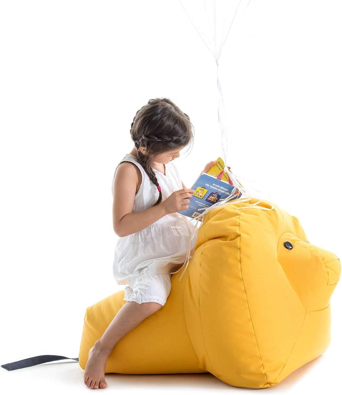 gelb 100/% Polyester beschichtet LxBxH 87x55x55cm Sitting Bull 190303 Happy Zoo Nora L/öwe Sitzsack