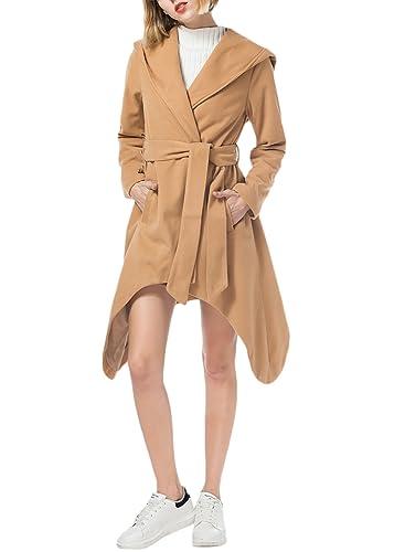 Azbro Mujer Abrigo con Capucha Mangas Largas de Color Sólido Decoración de Cinturón