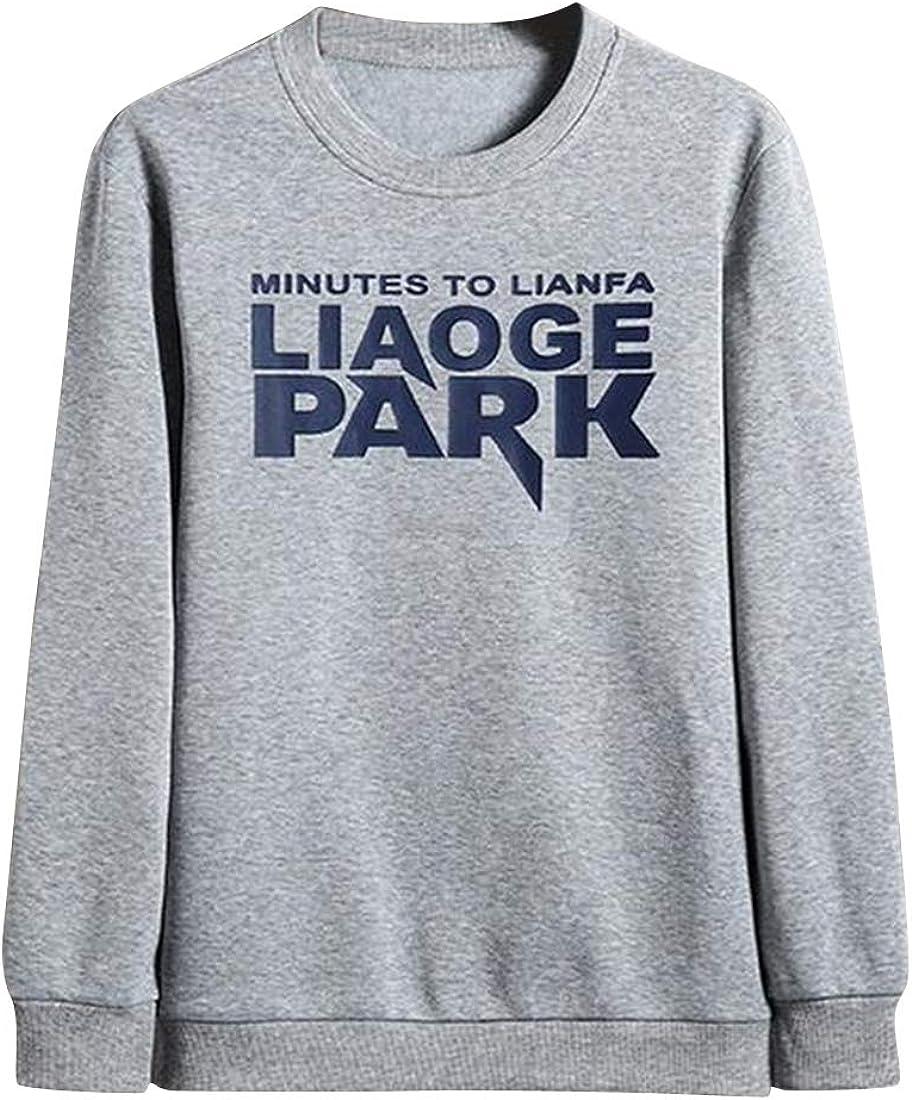 Teapolity Mens Round Neck Letters Print Casual Sport Fleece Pullover Sweatshirt