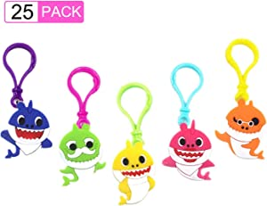 25 Pieces Baby Shark Keychains for Shark Theme Party Favors, School Carnival Reward, Party Bag Gift Fillers