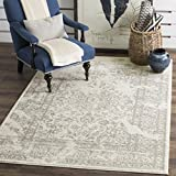 Safavieh Adirondack Collection ADR101B Ivory and Silver Oriental Vintage Distressed Square Area Rug (6' Square)